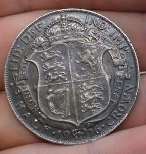 1916 Antique Sterling Silver Half Crown Coin Brooch. Unusual Piece. 14.9 grams