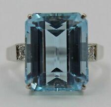 Vintage 14K White Gold 10.5ct Aquamarine Cocktail Ring Diamonds Size 7.25