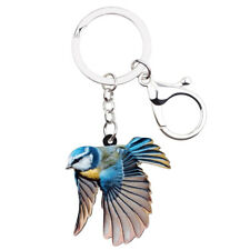 Acrylic Blue Tit Bird Keychain Ring For Women Bag Purse Cute Animal Jewelry Gift