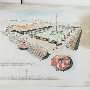 Mid Century Architectural Drafting State Fair 1954 Drawing Wall Art Vtg AS IS