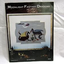 Moonlight Fantasy Dragons Cross Stitch Chart Pattern by Earle Phillips 1984