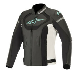 Alpinestars Stella Jaws v3 Ladies Leather Motorcycle Jacket Black White & Teal