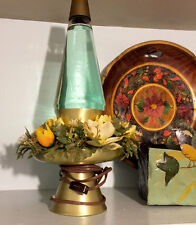 Original Vintage LAVA LAMP by Simplex - 16 inch, Teal & Gold w/ Flowers, Works!!