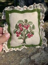 Vintage Handmade OOAK Lace Border Raspberry Bush Primitive Pillow Apple ❤️sj4j2