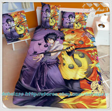 Anime Naruto Double Bed Sheet Blanket Blanket Quilt Cover Full Set 4PCS #X30