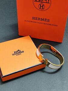 Hermes Enamel Bracelet 18K Gold Tone Brass Clic Clac H Bangle White PM