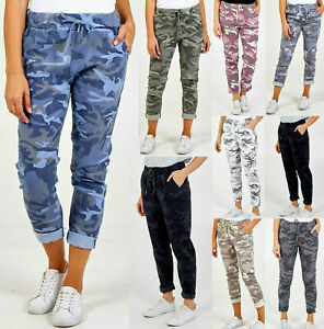 Ladies Womens Italian Stretch Camouflage Army Print Trousers Magic Joggers UK