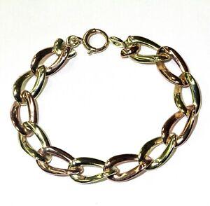 """14k green rose gold solid fancy long oval link chain bracelet 30.4g 7.25"""" womens"""