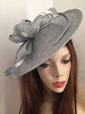Silver Grey Hatinator Saucer Hat Fascinator Wedding Formal Ladies Disc Races