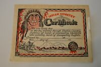 Native American Vintage Souvenir Novelty Certificate Southwest Indian 1954