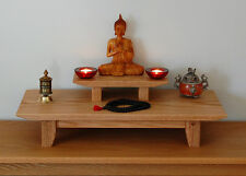 Solid Oak Table top Puja table - Meditation shrine - Altar & removable pedestal