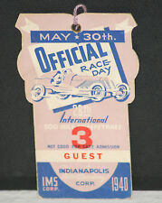 RARE! 1940 Indianapolis 500 Mile Sweepstakes Race Day Guest Pass