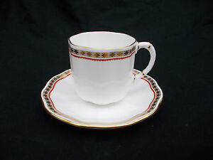 Royal Crown Derby. CARLTON RED. Coffee Cup and Saucer.