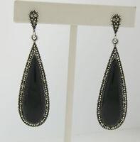 Marcasite Sterling Silver Elongated Tear Drop Black Onyx Elegant Ladies Earrings