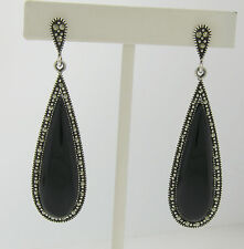 Marcasite Sterling Silver Elongated Tear Drop Black Onyx Elegant Ladies Earrings