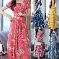 Women Summer Short Sleeve Beach Dress Floral Print Lady Casual Maxi Tunic Dress