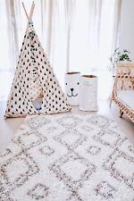 ALEAH MOROCCAN SHAG NURSERY SOFT RUG 122X183CM WHITE BEDROOM LIVING AREA SCANDI