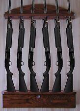 Gun Rack 6-gun vertical Wall Display solid oak ammo cabinet