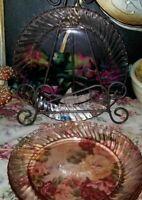 "Arcoroc France Glassware 4 Rosaline Pink Swirl 7.5"" salad Plates"