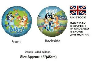 """BLUEY Themed 18"""" Foil Balloon Double Sided Kids Birthday Party Decoration UK"""