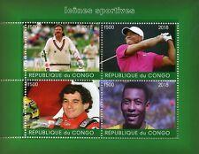 Congo 2018 MNH Ayrton Senna Pele Ian Botham 4v M/S Cricket Golf Football Stamps