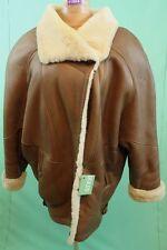 Schöner Damen Lamm Fell Mantel braun Gr 42/L echt Leder shearling vintage warm