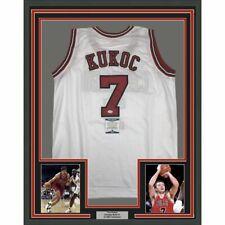 FRAMED Autographed/Signed TONI KUKOC 33x42 Chicago White Jersey Beckett BAS COA