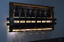 Lighted Barn wood wine rack
