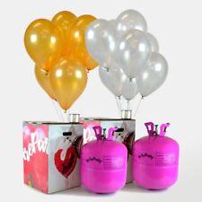 Pack Ahorro 2 Bombonas de helio Maxi + 100 Globos Plata y Oro Metalizados