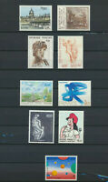 France Lot of  9 Different Large ART Comemorative Stamps Unused No Gum