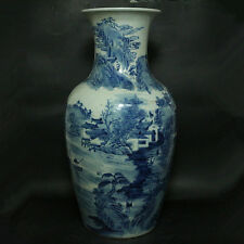 Chinese Old Blue and White Figure and Landscape Pattern Porcelain Vase