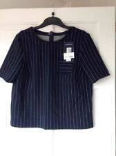 M&S Collection Navy Striped Boxy Top with Pocket Size 12 BNWT