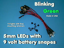 10 pc 5mm GREEN BLINK PRE WIRED LEDs 9 VOLT WATER CLEAR LED ON BATTERY SNAPS 9V