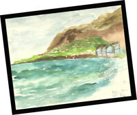 Rincon Shore Ventura 2014 Contemporary Art PAINTING SIGNED seascape watercolor