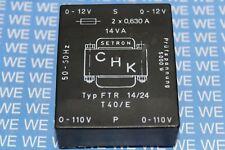 Printtransformator 2x110V 2x6V/AC 2x1250mA 14VA  FTR14/12 Flachtrafo CHK