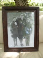 "Vintage Hand Carved Solid Dark Wood Frame w/ Glass & Antique Photograph 18"" x 23"