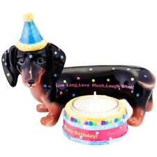 Dachshund With Birthday Hat Birthday Candle Holder
