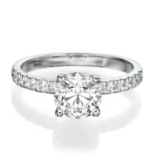 CERTIFIED 14K WHITE GOLD ROUND DIAMOND ENGAGEMENT RING ENHANCED 1.00 CT D/VS2