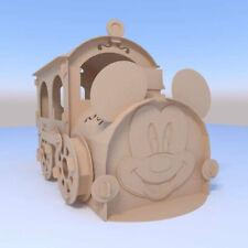 Mickey Mouse cardboard locomotive. Cardboard playhouse