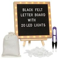Felt Letter board, Message Board with LED Lights (Black)