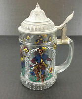 Vintage West Germany Beer Stein Zinn Countrymen Glass BMF Pewter Lid Hand Paint