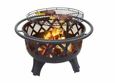 Steel Fire Pit Wood Coal Outdoor Fireplace Cooking Grate Patio Firepit BBQ Grill