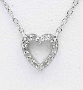 RACHEL GAIL SM DIAMOND HEART PENDANT NECKLACE .925 Silver * NWT * Msrp $300.00