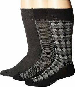 Cole Haan Black/Gray 3-Pair Diamond Stripe Crew Cut Socks Men's Size 7-12 19917