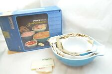 VINTAGE PYREX BOWL 4 PC SET HORIZON BLUE CINDERELLA MIXING NESTING NEW IN BOX d