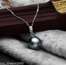 Genuine 14mm Black Mother Of Pearl Shell Pearl Pendant 18K GP