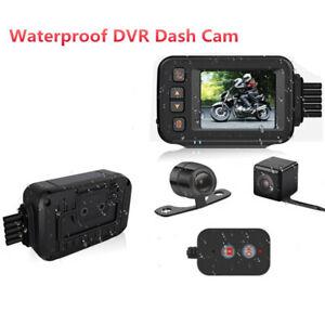 "2"" Screen Waterproof Motorcycle Dash Cam Camera Dual Lens Video Driving Recorder"