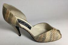 Stuart Weitzman Pumps shoes Martinique Slip On snake print beige Lace Sz 7.5 M