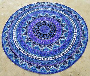 """Ethnic Round Mandala Cotton Bohemian Tapestry Beach Mat Picnic Throw 46"""" Roundie"""