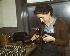 Female war worker making gun parts Milwaukee 1943 - New 8x10 World War II Photo